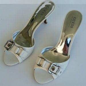Guess white kitten heels